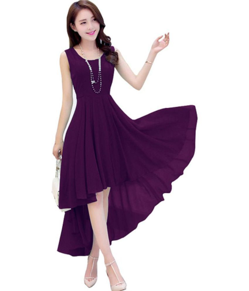 88f691d43f45 Viha Georgette Purple Dresses - Buy Viha Georgette Purple Dresses ...