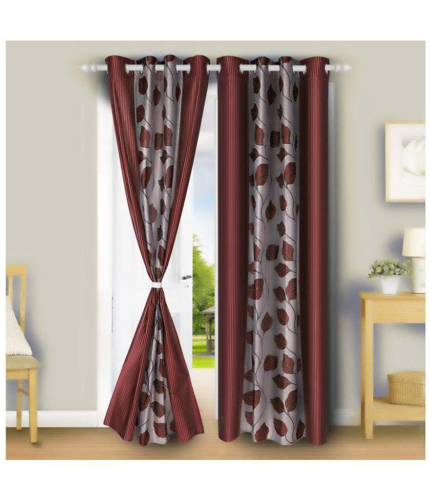 E-Retailer Set of 2 Long Door Eyelet Curtains Red