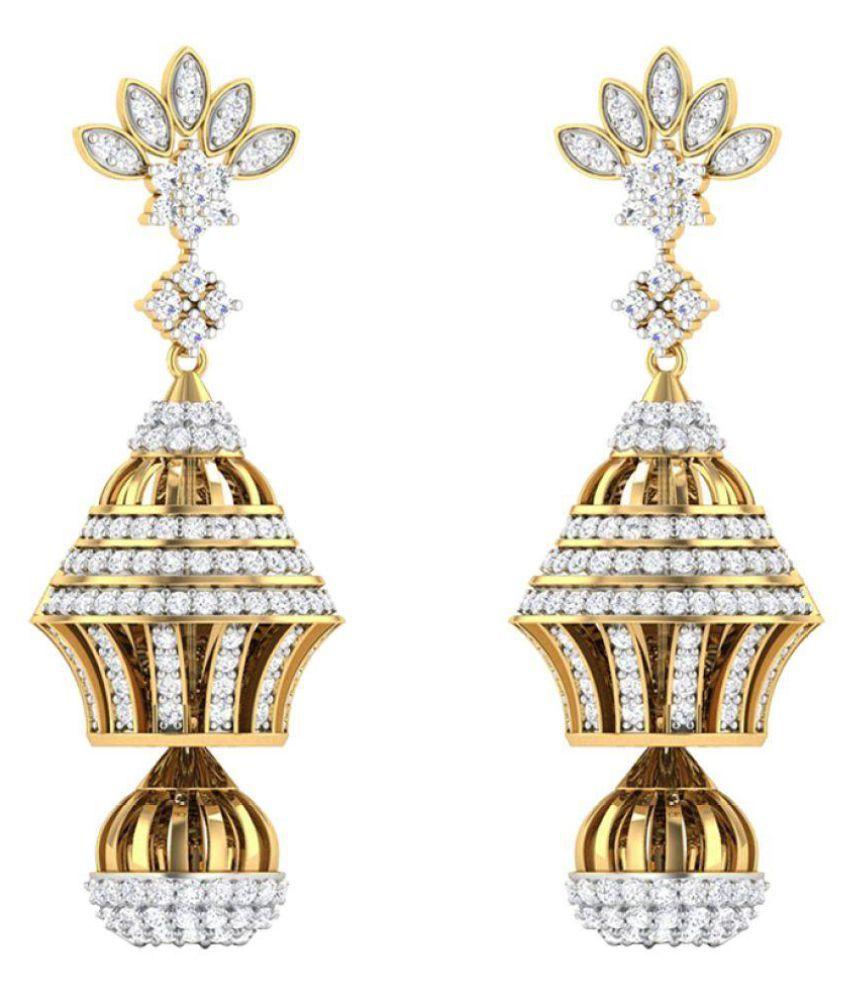Amantran Gems And Jewels 14k BIS Hallmarked Yellow Gold Diamond Jhumki
