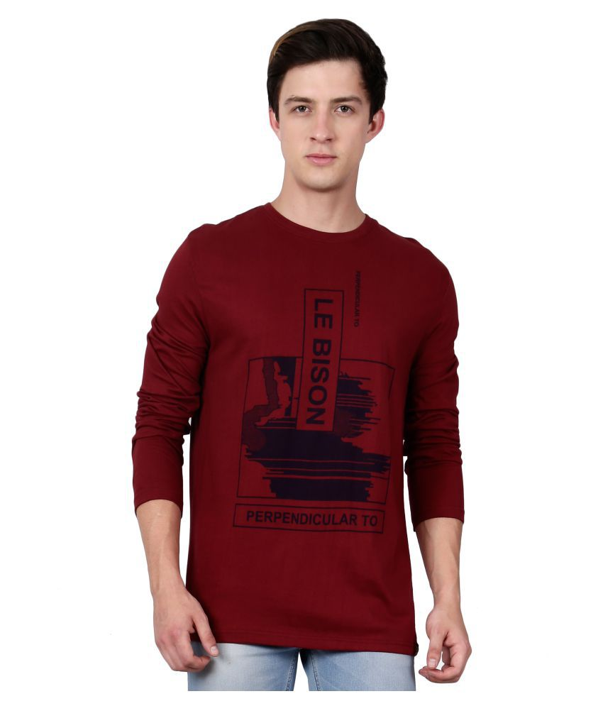 Le Bison Maroon Round T-Shirt Pack of 1