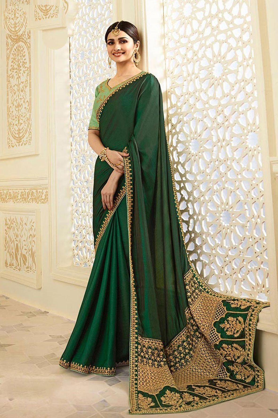 Sasimo Green Silk Crepe Saree