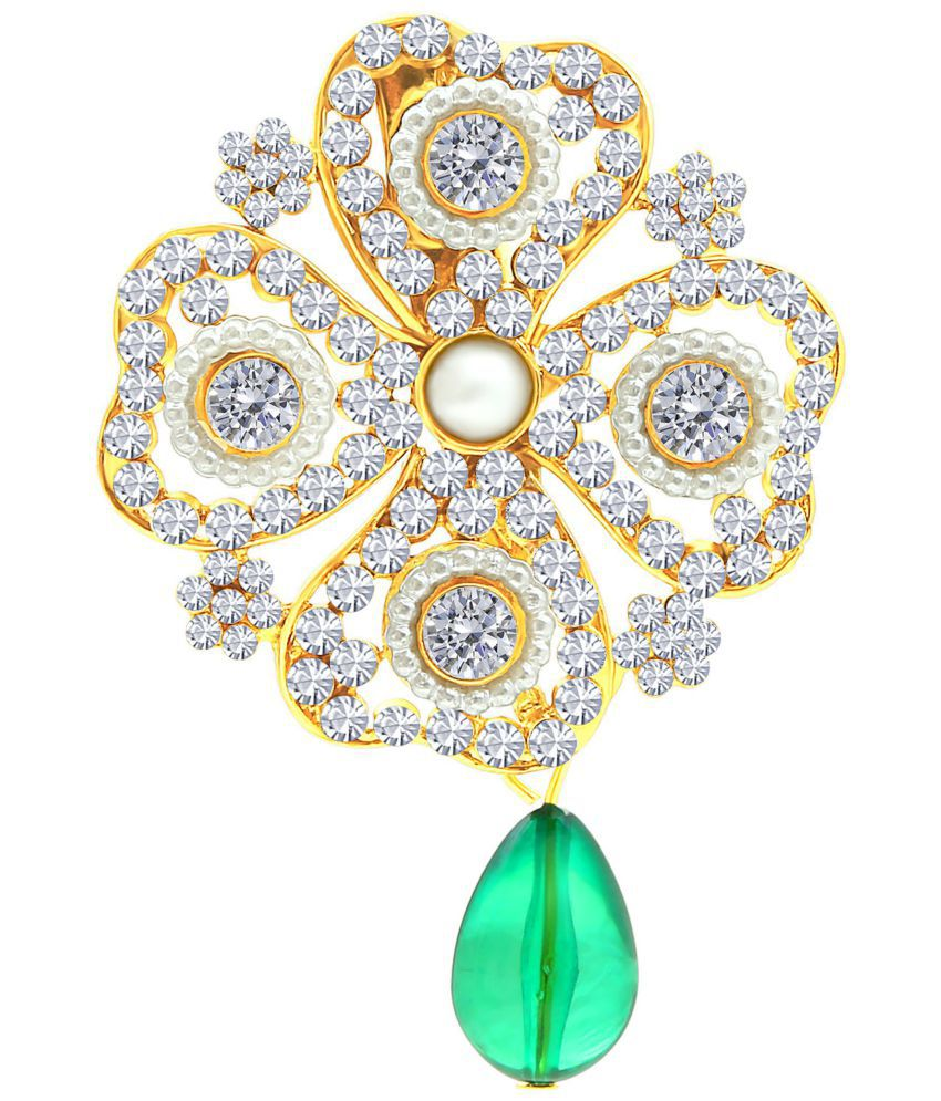 MFJ Fashion Jewellery Gold Plated AD Long-lasting Brooch For Women