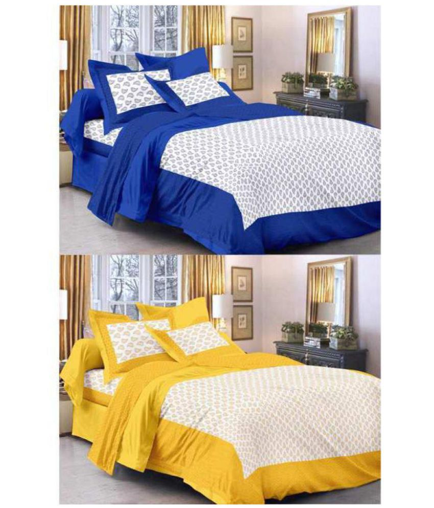 Kismat Collection Cotton Double Bedsheet with 4 Pillow Covers