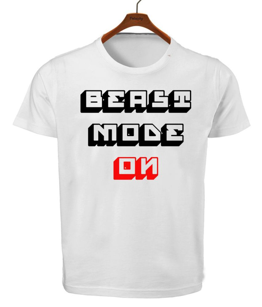 RITZEES White Dry Fit Polyester Tshirt On Beast Mode On