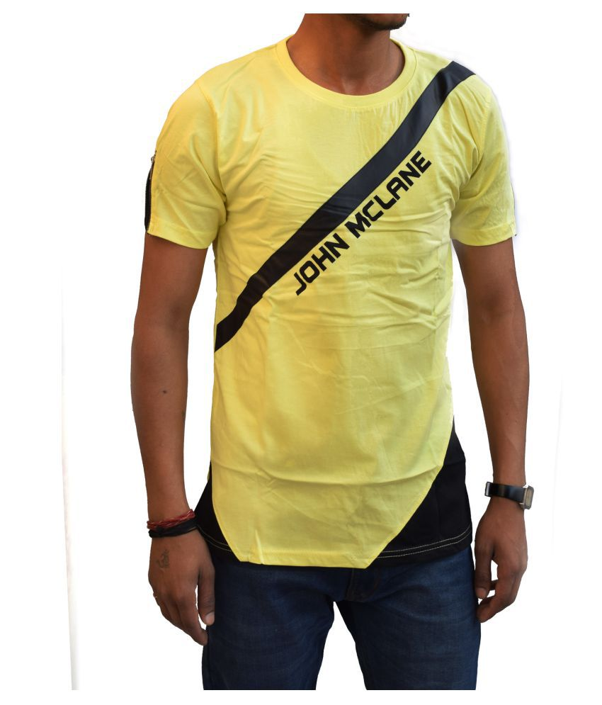 w sports Yellow Round T-Shirt Pack of 1