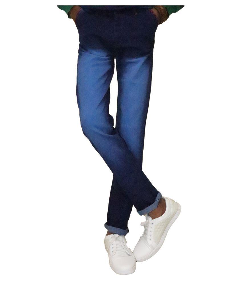 POOL CLUB Blue Regular -Fit Flat Chinos