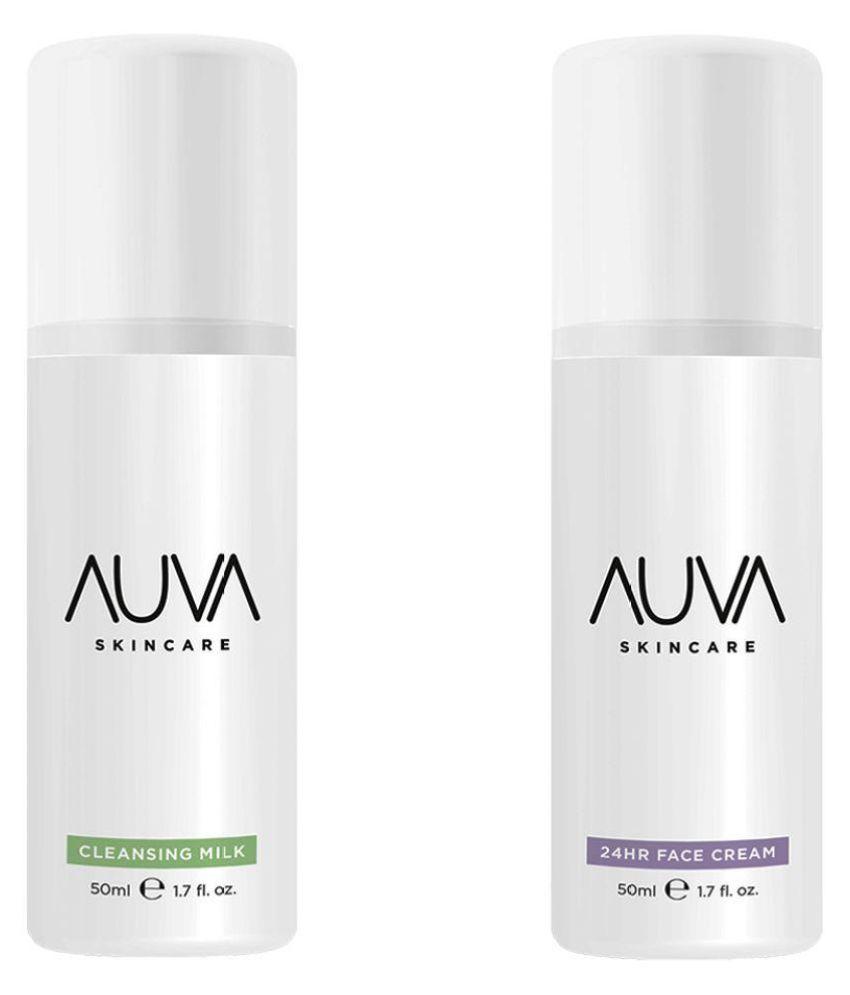 AUVA Summer Skincare -Face Cream24h & Cleansing Milk Moisturizer 100 ml Pack of 2