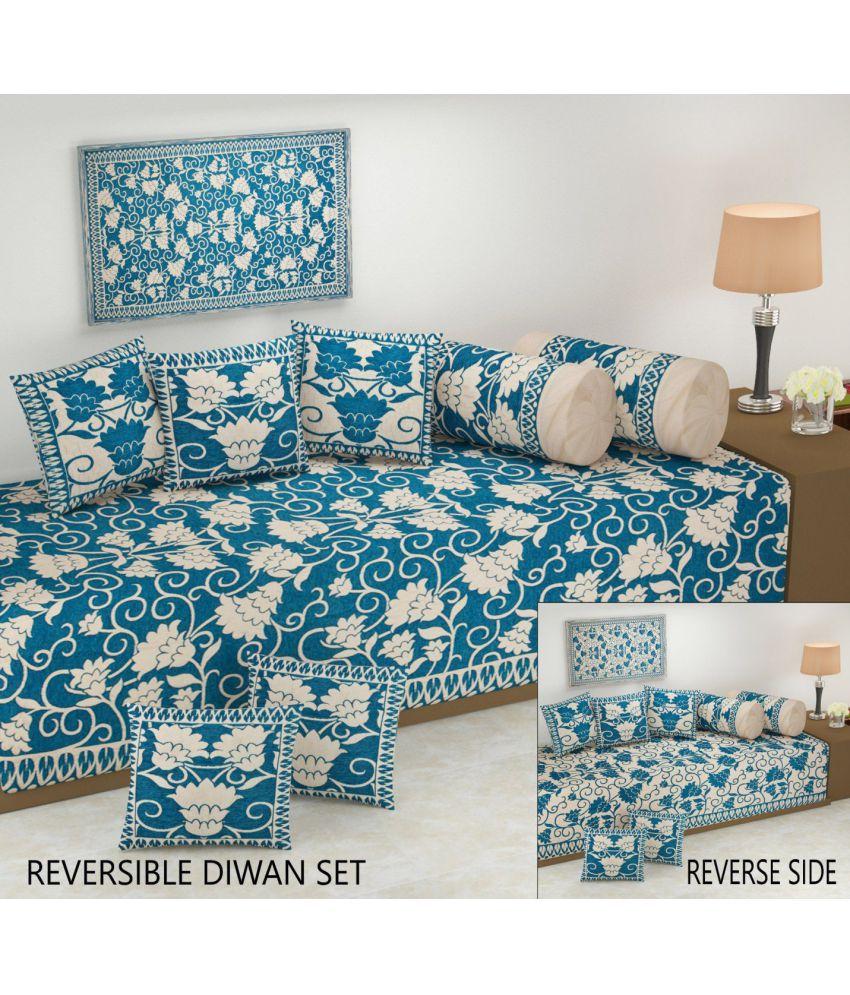 Fresh From Loom Velvet Turquoise Floral Reversible Diwan Set 8 Pcs