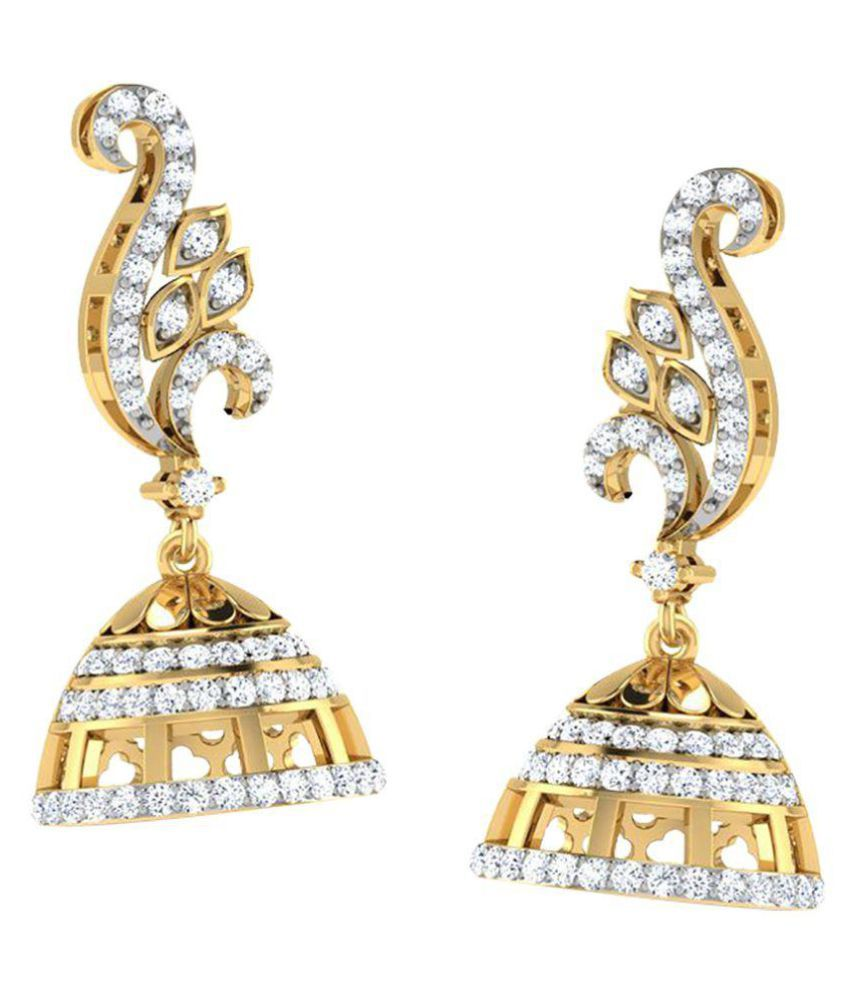 Amantran Gems & Jewels 14k Yellow Gold Diamond Jhumki