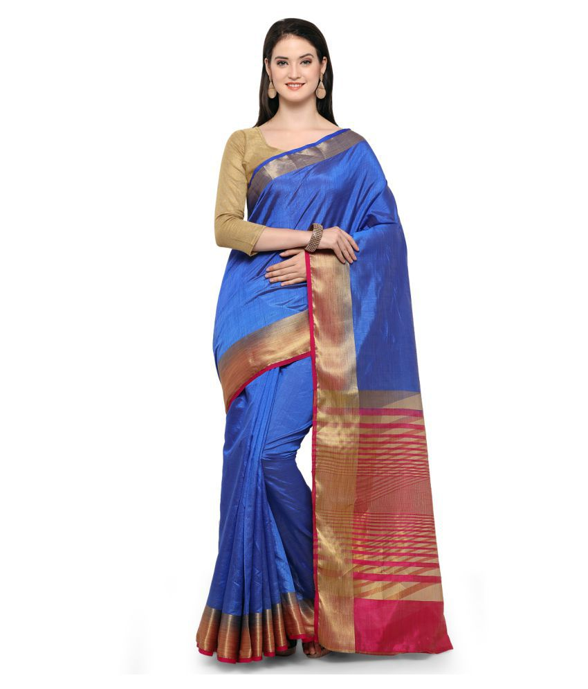 Aradhya Blue Cotton Silk Saree