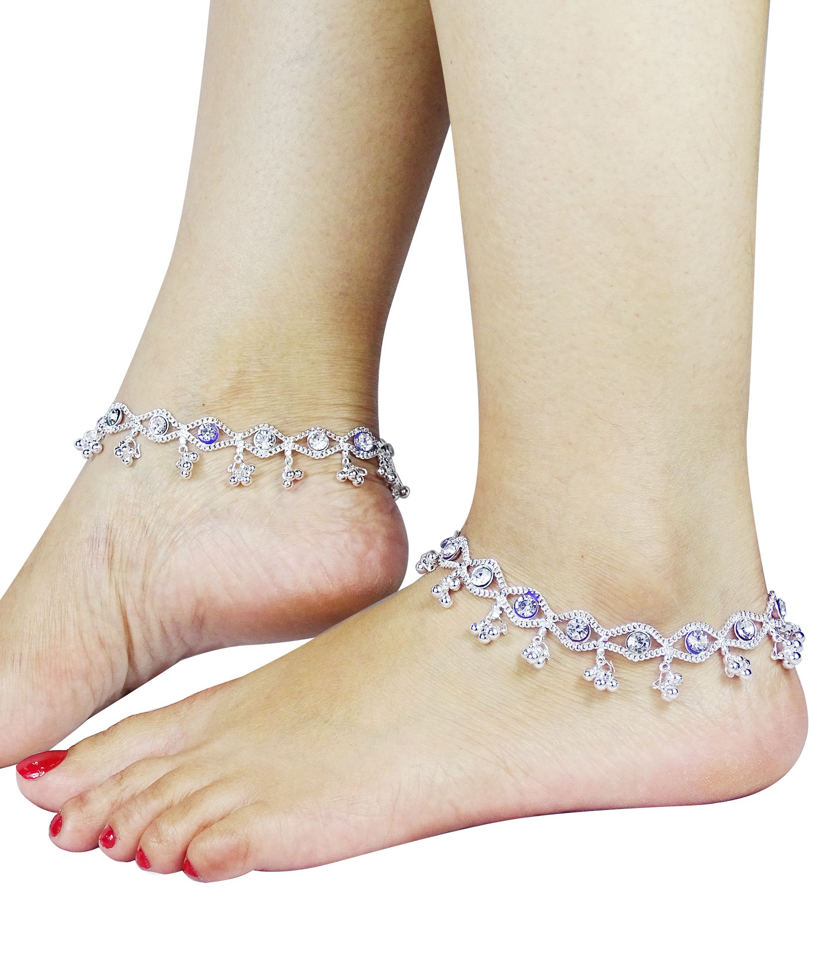 Fluck Pair of Silver Plated Alloy Anklets(Silver)