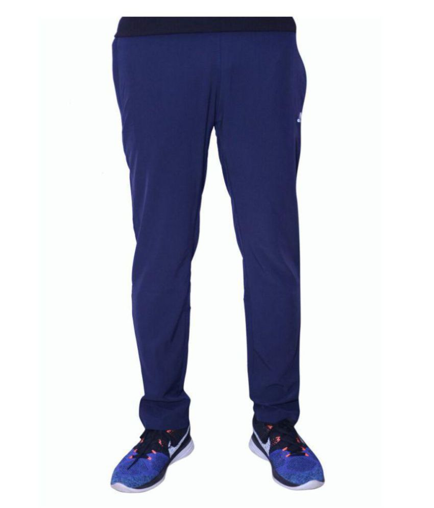 Adidas Blue Black Polyester Track-pant