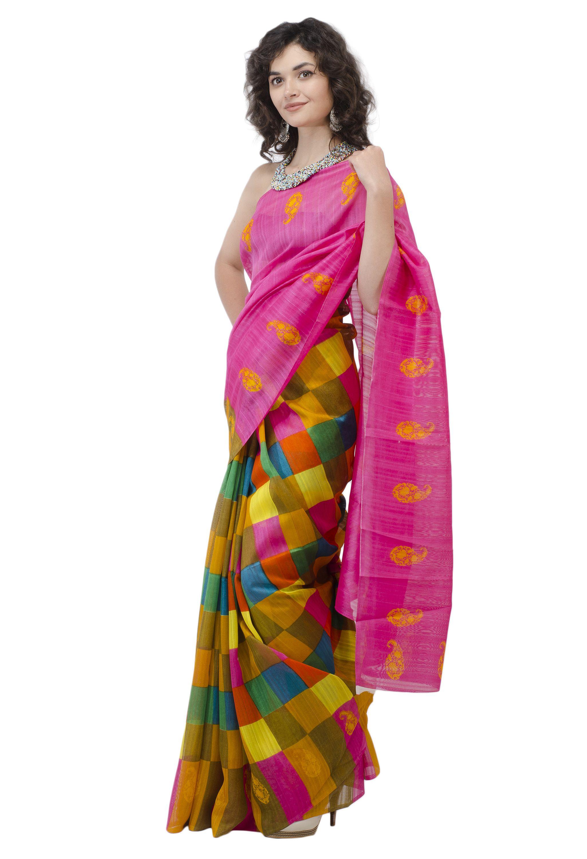 NAIRA COUTURE Pink Bhagalpuri Silk Saree