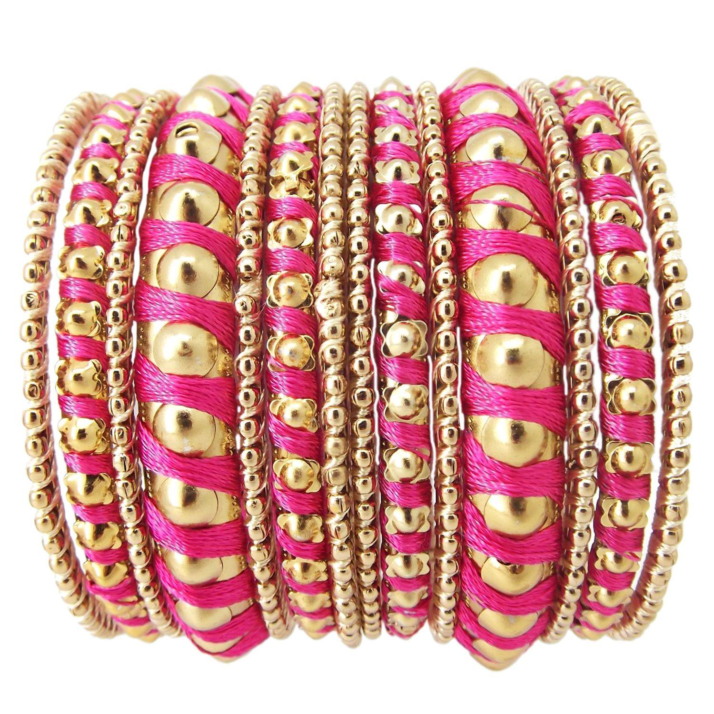Biyu Dark Pink Ball Design 14pc Gold Plated Silk Thread Bangles