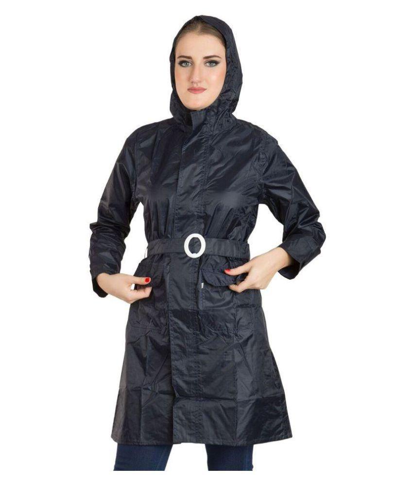 Burdy Polyester Short Rainwear - Black