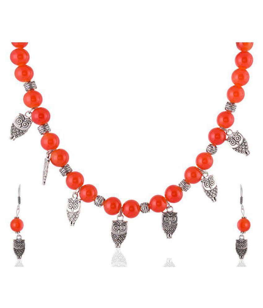 7ad0f82a8b1553 Rai Collection Women Fashion Designer Orange Beaded Silver Oxidized Strand Necklace  Pendant Neckpiece Set w/ ...