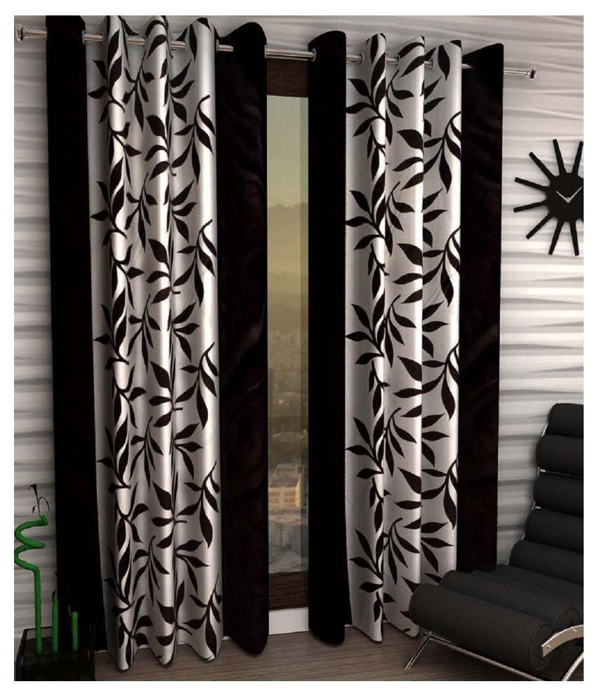 Geonature Set of 2 Door Eyelet Curtains Floral Brown