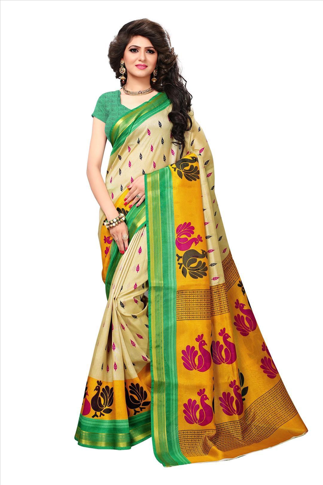 Winza Designer Green Bhagalpuri Silk Saree