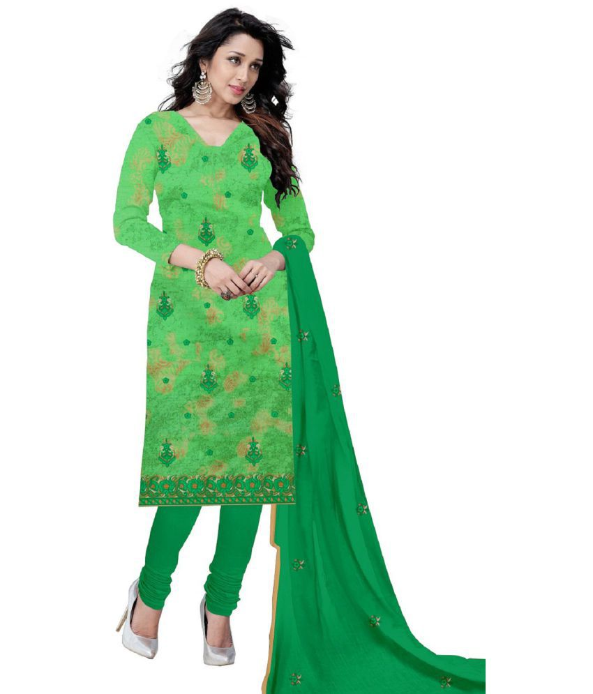 Udaan Green Cotton Dress Material