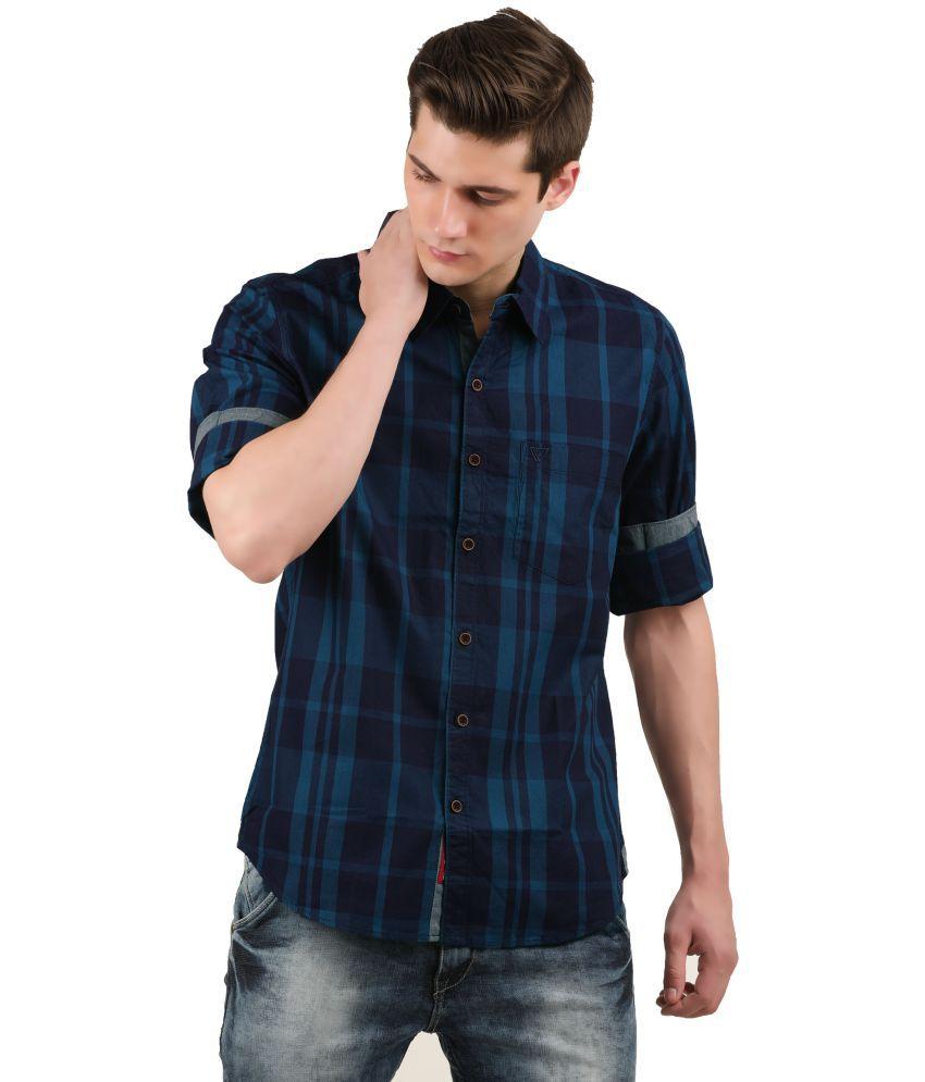WRINKLE Navy Slim Fit Shirt