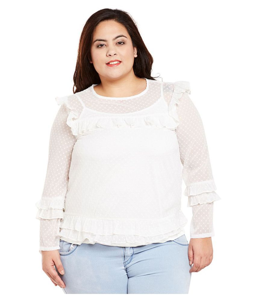4fed90c15ca Oxolloxo Polyester Plus Size White Tops - Buy Oxolloxo Polyester Plus Size  White Tops Online at Best Prices in India on Snapdeal