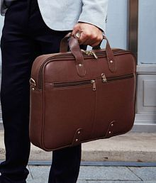 Home Story Brown P.U.Leather Office Laptop Bag- 15.6 Inch