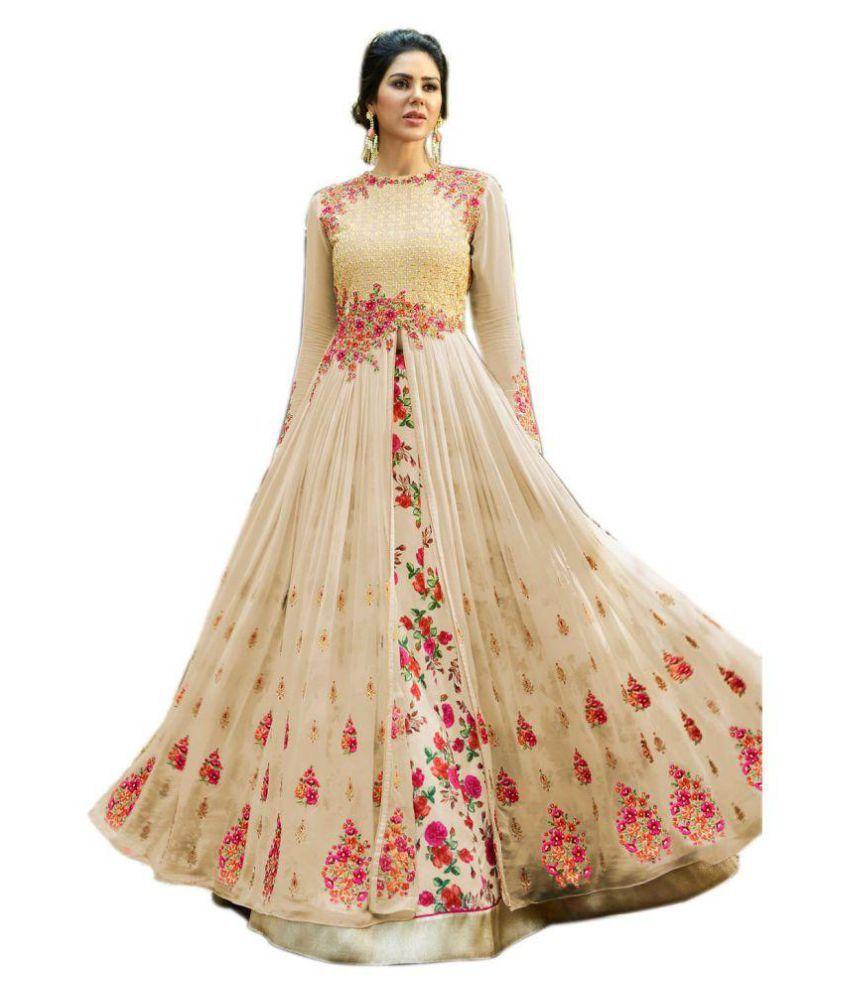 5693e5a29eda AP ENTERPRISE Beige Georgette Anarkali Gown Semi-Stitched Suit - Buy AP  ENTERPRISE Beige Georgette Anarkali Gown Semi-Stitched Suit Online at Best  Prices in ...