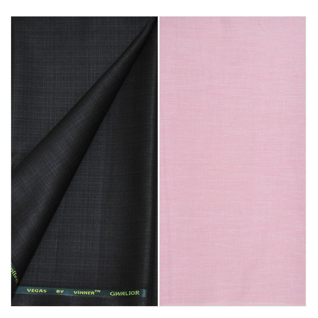 KUNDAN SULZ GWALIOR Pink Cotton Blend Unstitched Shirts & Trousers ( 1 Pant & 1 Shirt Piece )
