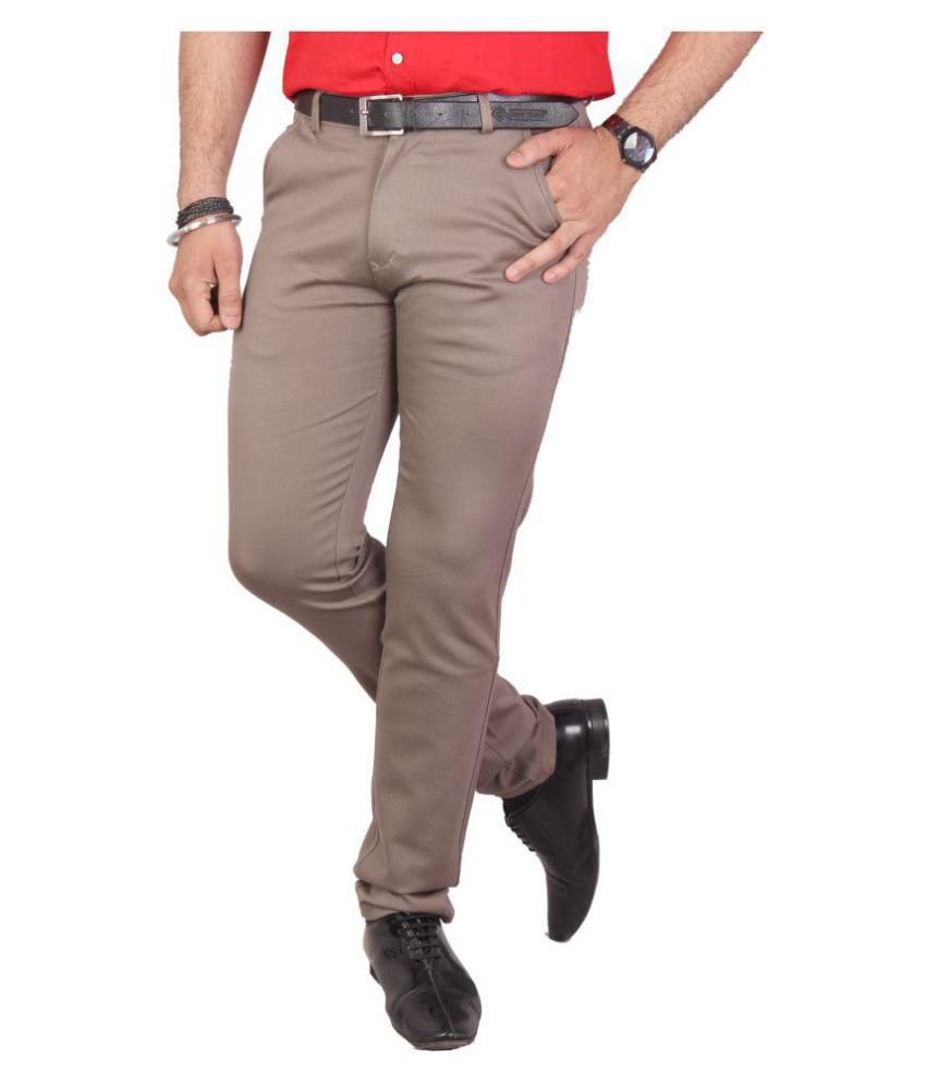Jerry Cherry Brown Slim -Fit Flat Trousers