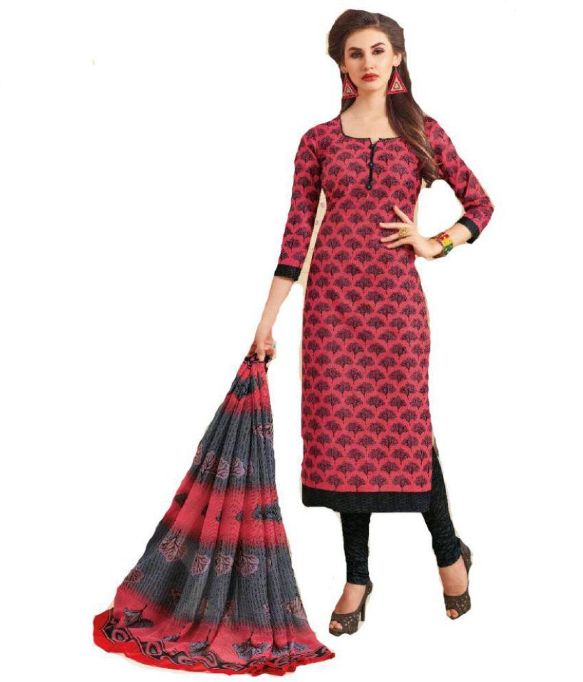 Pankhudi Creation Maroon and Red Cotton Dress Material