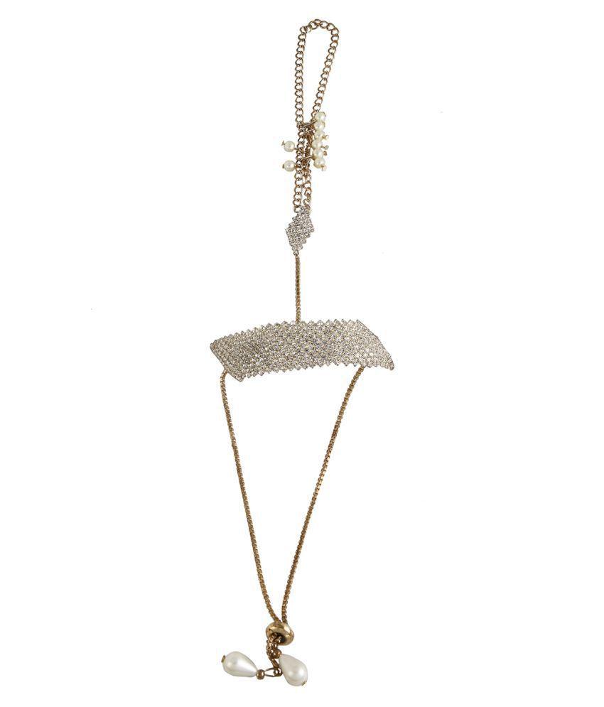9blings CZ Pearl Gold Plated Adjustable 1pc Hathphool Ring Slave Bracelet