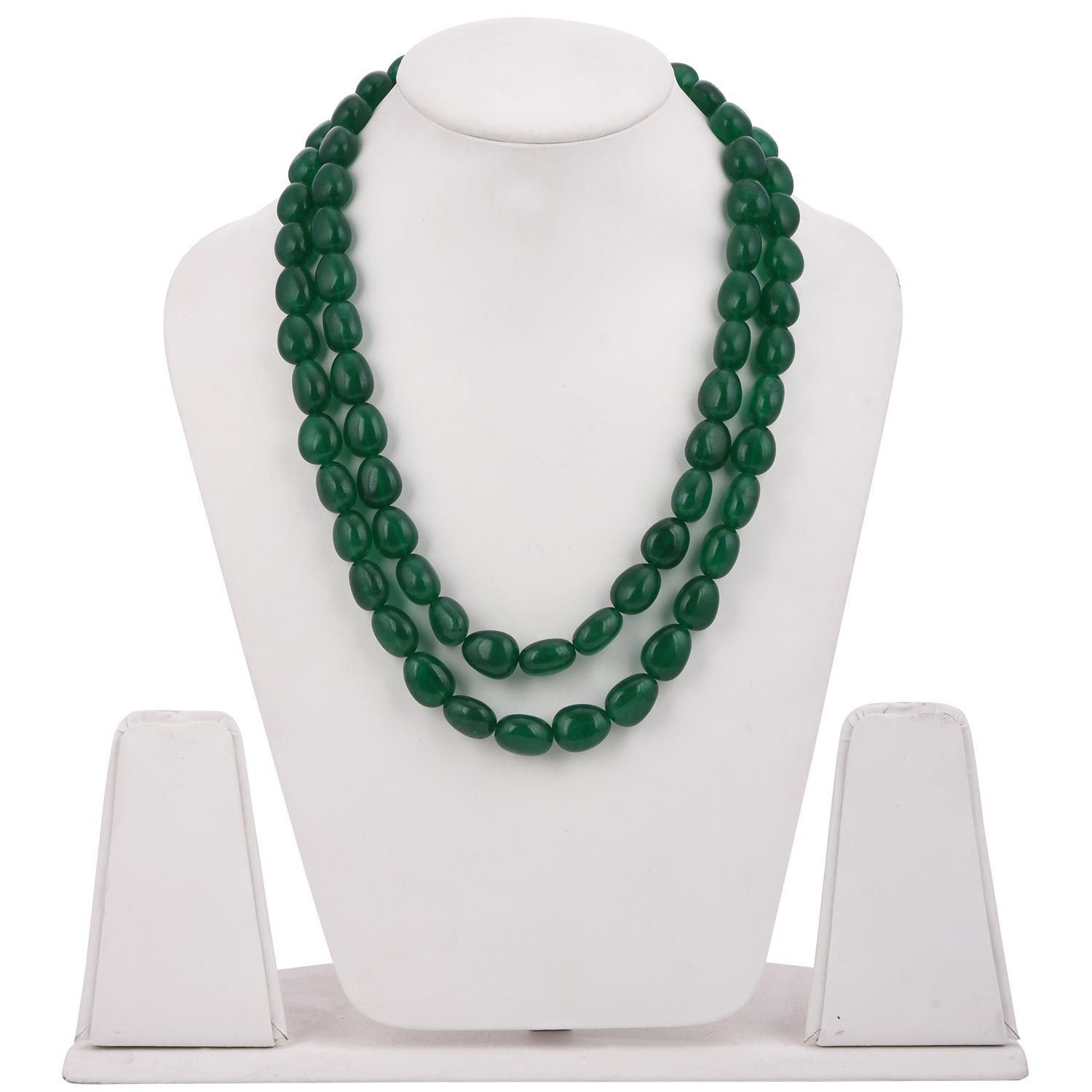 Tistabene Classic Green Big Bold Beads Latest Trendy Party Wear Beaded Necklace For Women and Girls (NE-0350)