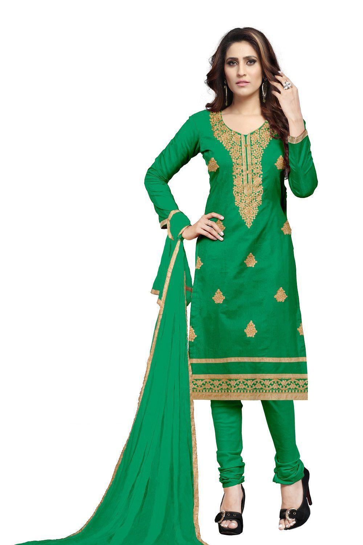 Udaan Green Satin Dress Material