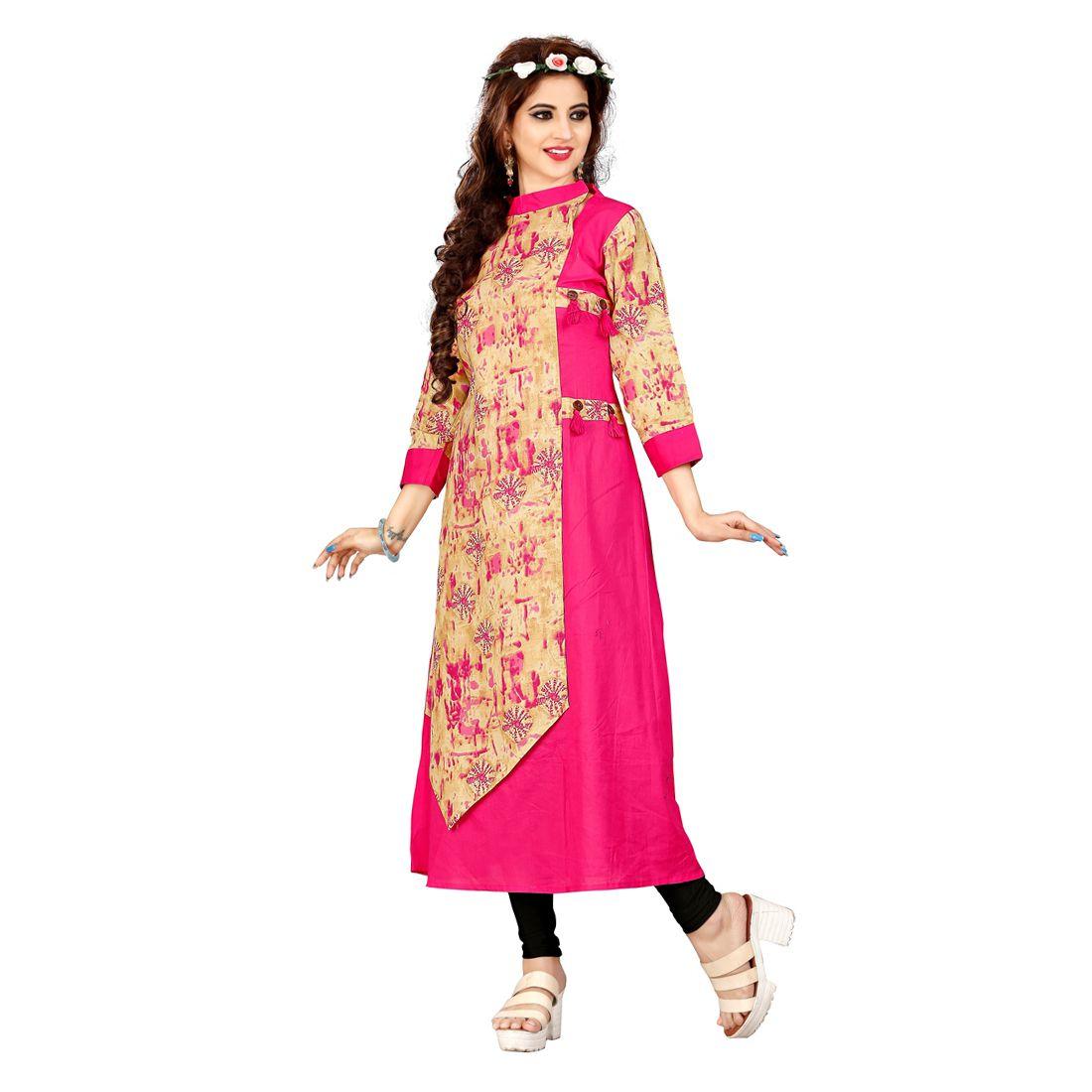 Jisa Fashion Multicoloured Cotton Straight Kurti