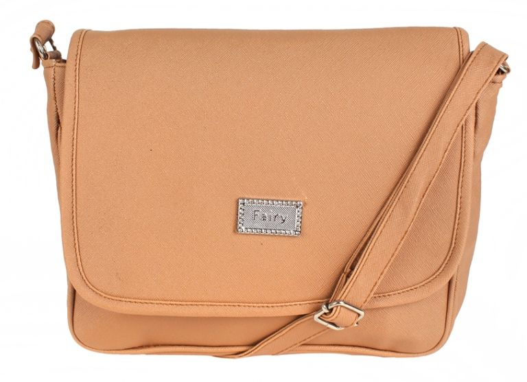 Aliado Beige Faux Leather Sling Bag