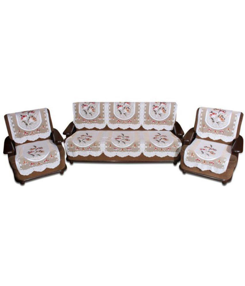 Tanishka Fabs 5 Seater Polyester Set of 10 Sofa Cover Set