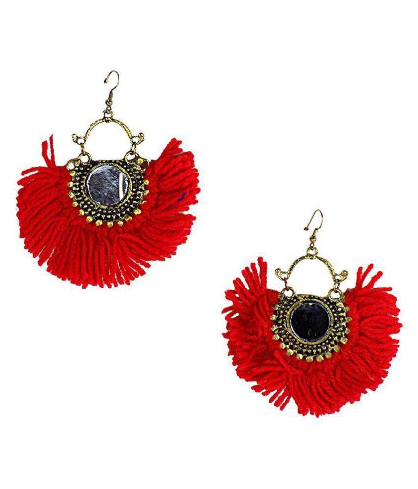 Silver Oxidized Red Boho Gypsy Collection Tribal Jaipur Jewels Designer Fusion Moonshape Chandbali Thread Afghani Beautiful Jhumki Earring Drop Earrings For Girls And Women