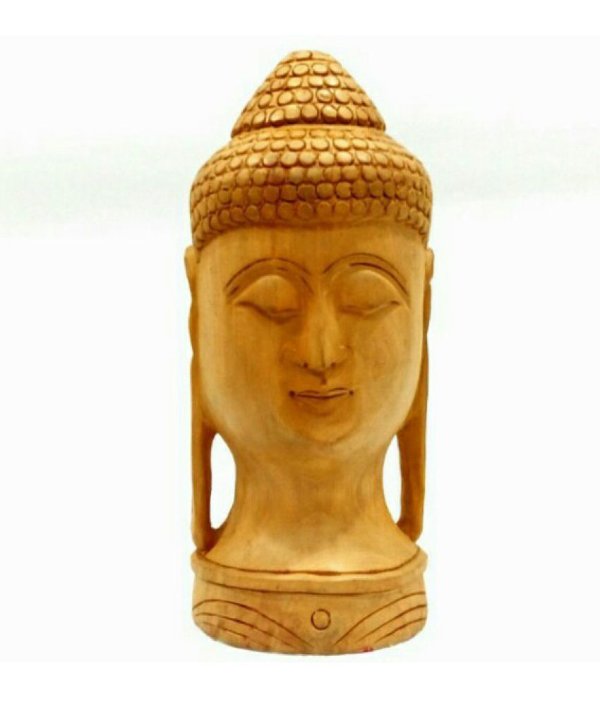 Arts Of India Wooden Decorative Buddha Wood Buddha Idol 12 x 8 cms Pack of 1
