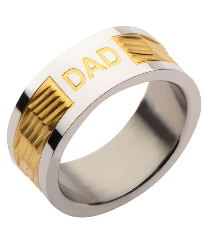 Inox Jewelry Gold and Silver Stainless Steel Engraved DAD Jagged Pattern Band