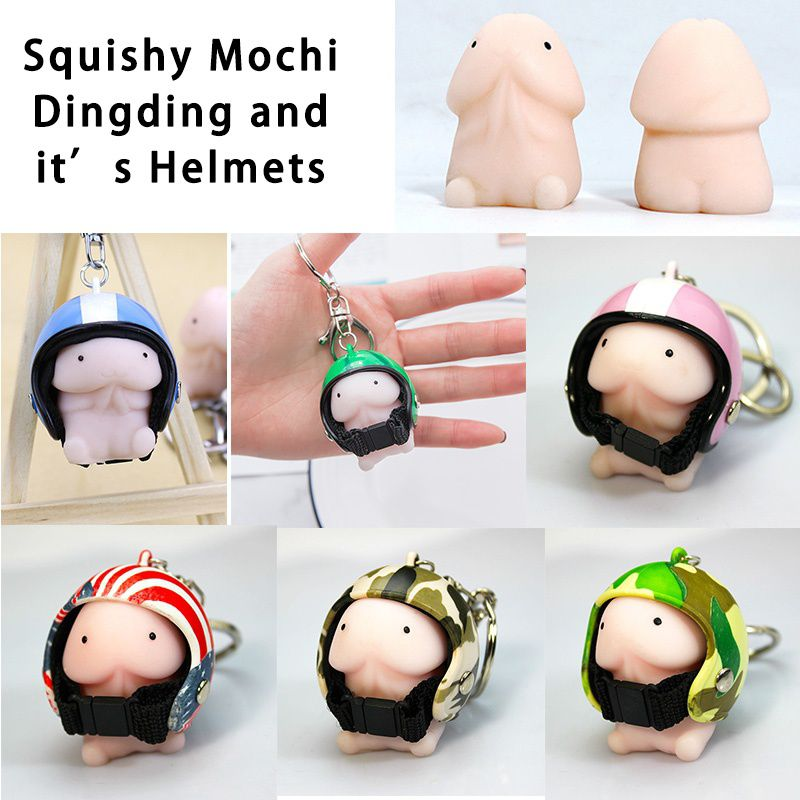 Squishy Ding Ding With B1 Helmet Cute Keychain