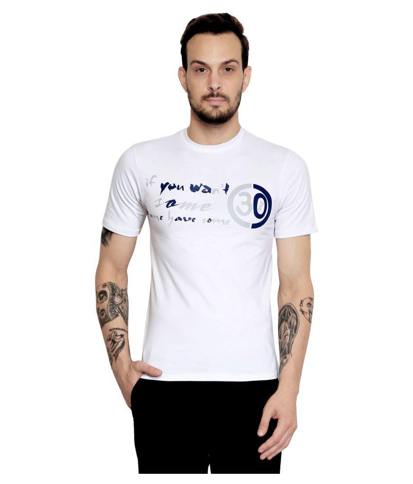 AD & AV White Round T-Shirt Pack of 1