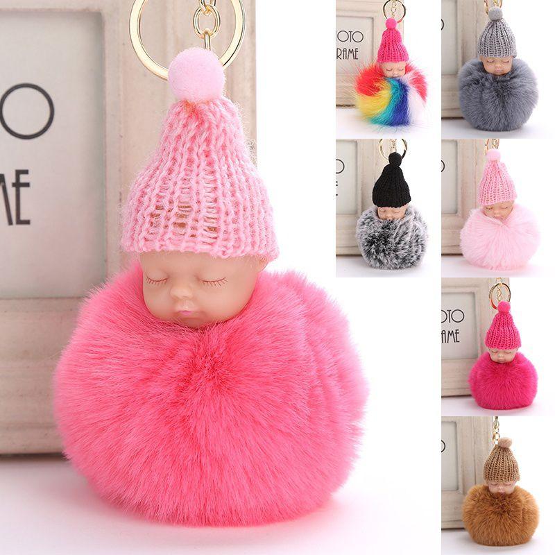 Cute Baby Fluffy Keychain Keyring Key Pendant Key Charm Fashion Accessories Shoulder Bag Decor trousseau llavero