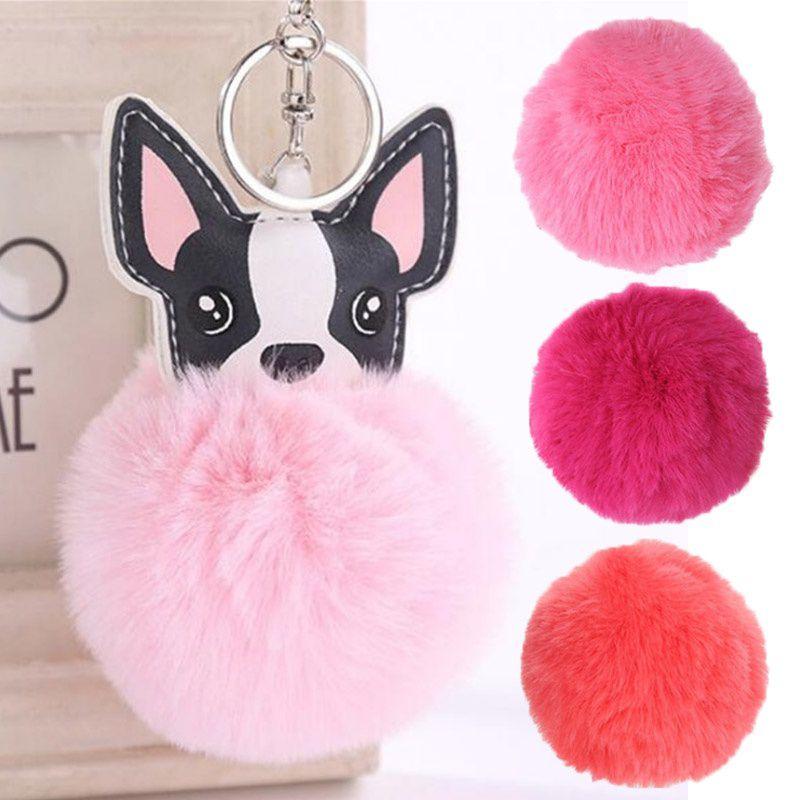 Fashion Accessories Fluffy Rabbit Fur Ball French Bulldog Keychain Pompom Key Chain PU Leather Animal Dog Keyring Holder Handbags Bag Charm Trinket Chaveiros