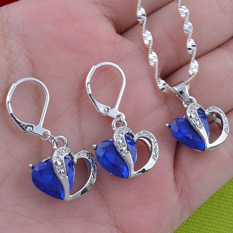 Fashion Women 925 Sterling Silver Sapphire Pendant Necklace&Earrings Jewelry Set