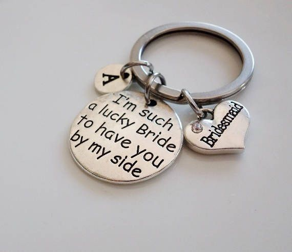 I'm such a lucky Bride to have you by my side, maid of honor wedding keepsake keychain