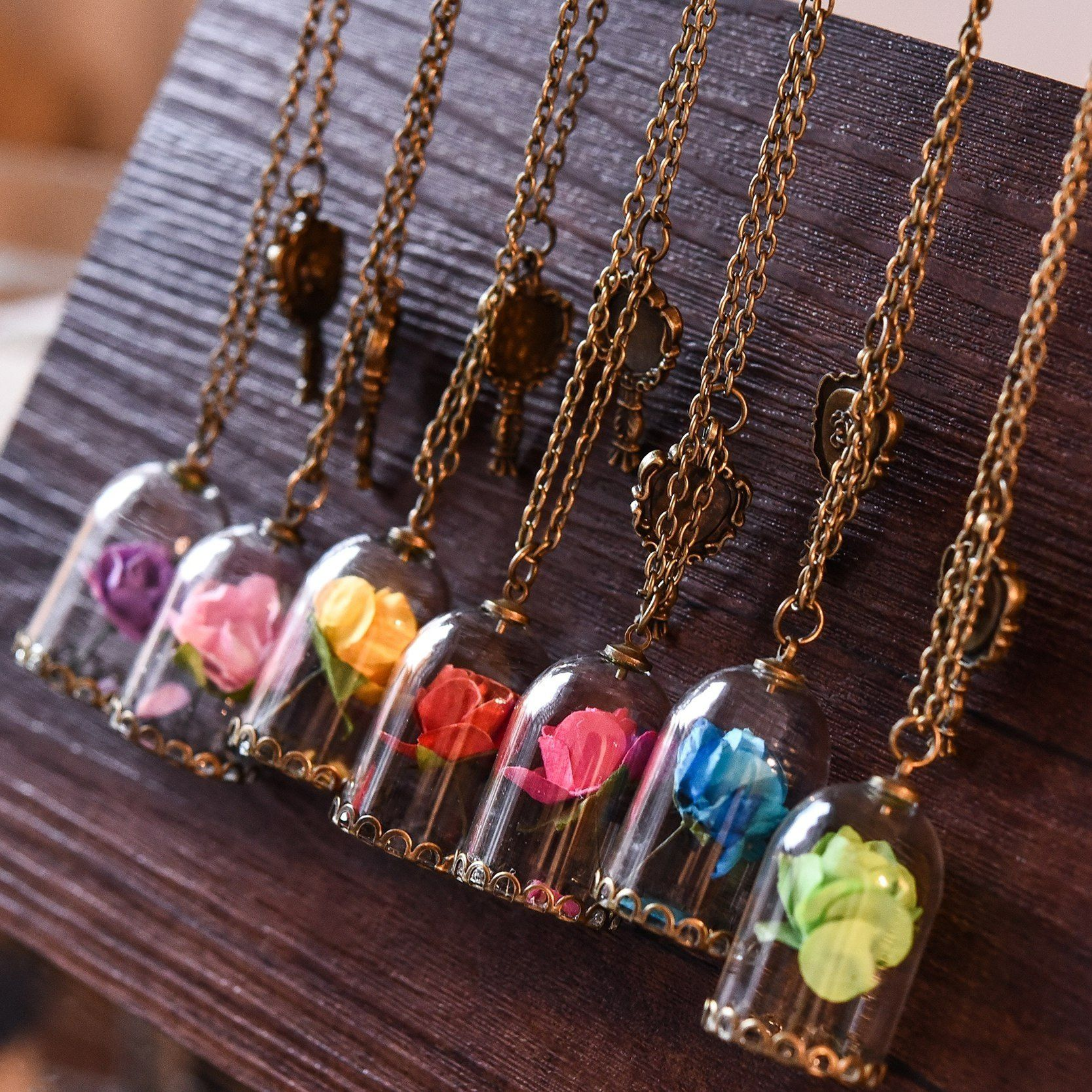 Perfect Gift for Women Romantic Dried Flowers Glass Bronze Long Chain Necklace