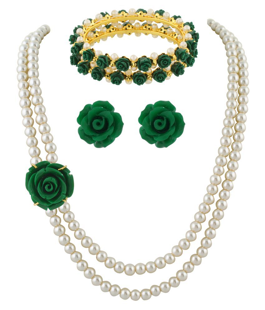 ClassiqueDesigner Jewellery Green Rose Pearl Set with Bangles