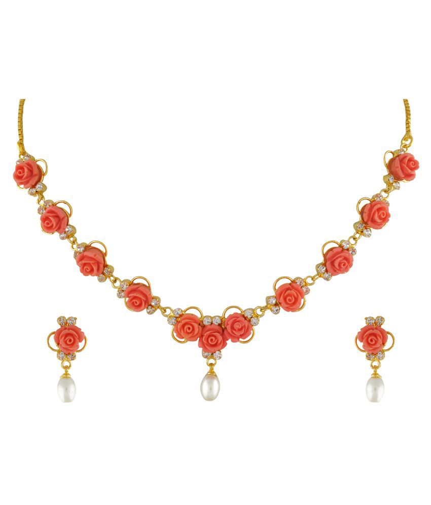 ClassiqueDesigner Jewellery Orange Color Flower Necklace Set
