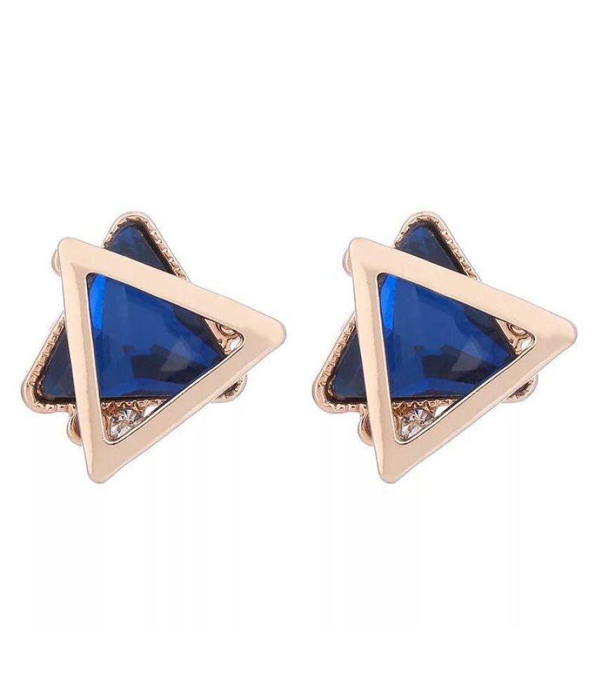 Popmode Exquisite Blue zirconia earrings star shape