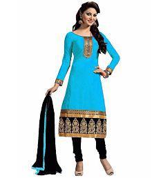 FIBREZA Blue Cotton Dress Material